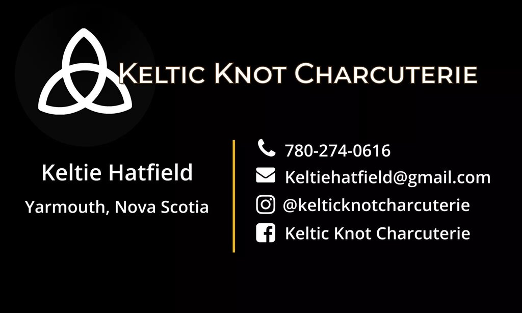 back of the double-sided business card for Keltic Knot Charcuterie.
