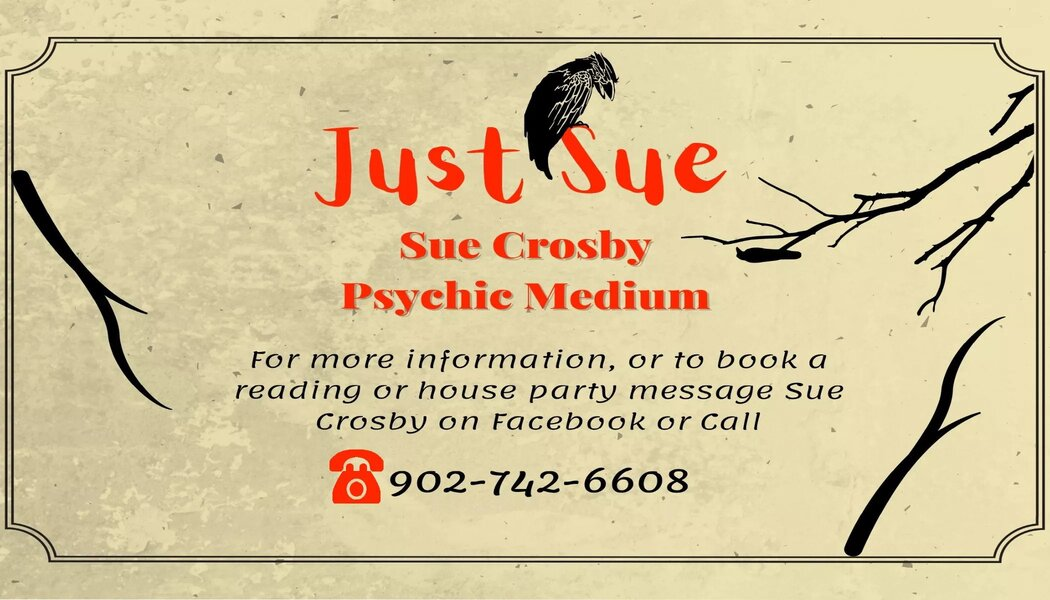 a Business card for Just Sue Psychic Medium